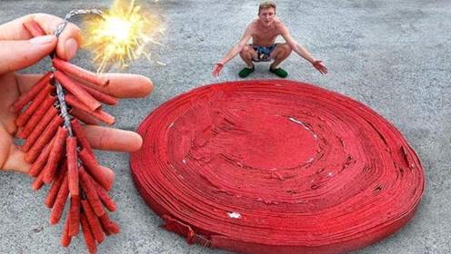 将十万个鞭炮盘在一起,点燃之后场面会有多壮观?网友:玩的真大