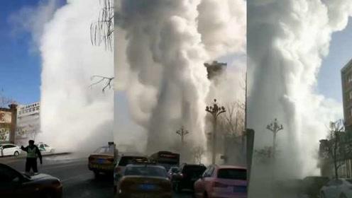 铁岭供暖管道爆裂喷百米高,整条街如坠云雾,热水落地成冰