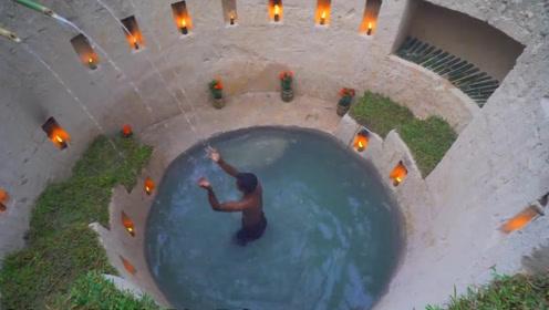 荒野求生:越南小伙徒手打造豪华深水池,这个手艺真的是太牛了!