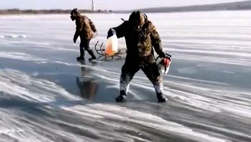 外国人看不懂的中国功夫,滑行在冰面上的渔民,没有任何助力就能前行!