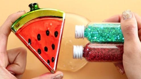 彩色西瓜版水晶泥,搭配各种亮晶晶材料,自制无硼砂水晶泥