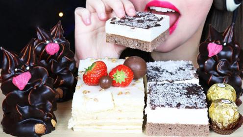 小姐姐吃甜点大餐,不断产生愉悦感,网友:香气四溢!