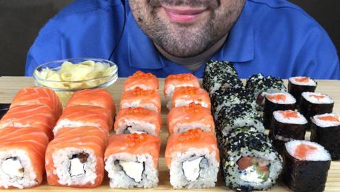 大胡子吃播吃三文鱼寿司,蘸上酱油后一口一个,实在是太过瘾了!