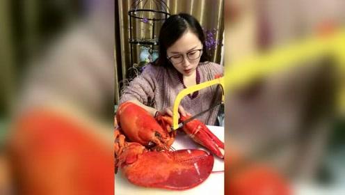 县城小姐姐吃得就是上档次,这龙虾一般人真买不起