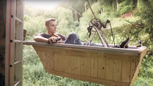 怎样做到可以快速上树屋?老外将浴缸改造成吊篮,网友:有点好玩的样子