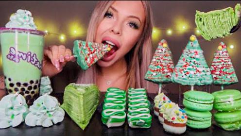 芭比美女享用绿色甜点,清新自然干净美好