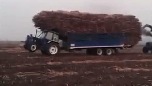 这装载量,大卡车都望而生畏,而拖拉机做到了
