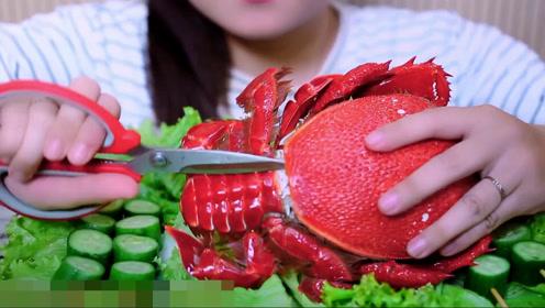 美女吃蜘蛛蟹大墨鱼,大口吃肉满足过瘾,一看就是土豪的生活方式
