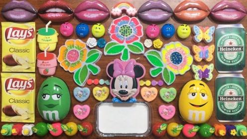 DIY彩色花朵彩泥,搭配各种巧克力豆饰品,自制史莱姆