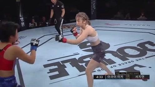 韩国美女颜值高还能打!铁臂猛锁把对手牙套都勒吐,观众都看呆
