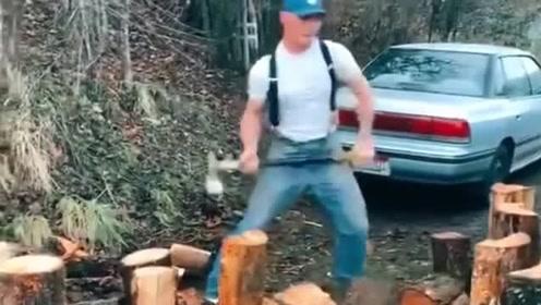 外国的劈柴哥,一把斧子劈起柴来谁都挡不住