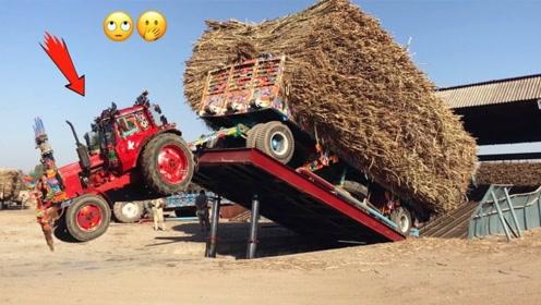 都说印度是开挂的国度,看完拖拉机卸货,我信了!