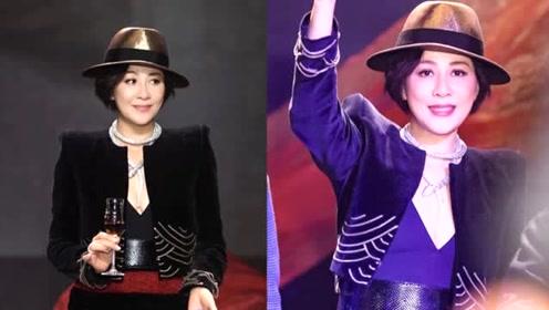 54岁刘嘉玲穿黑丝显性感,手中超大钻戒抢镜