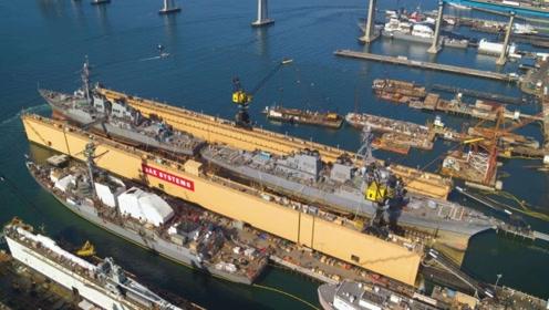 美船厂炫耀一坞双舰技术,被网友打脸:你这浮船坞是中国制造