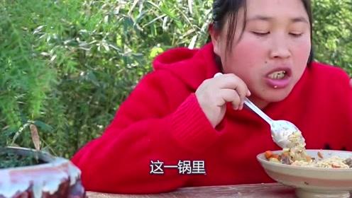 """胖妹越来越懒了,自制""""懒人焖饭""""也吃的香,一锅全被吃光了"""