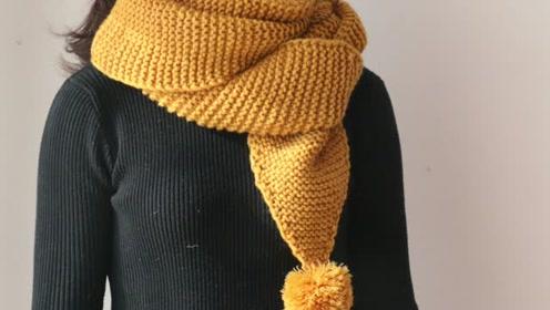 毛儿手作三角围巾毛球尖角情侣围巾新手视频