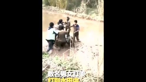 """乡村道路错车引冲突 数名男女打架打到水田变""""泥人"""""""