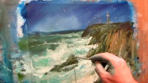 油画家风景绘画视频加速版pat3寰球创意 145期