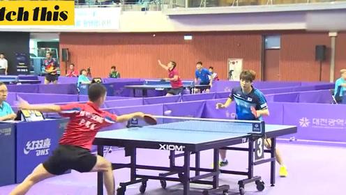 韩朝男子乒乓球赛 观众高举韩半岛旗帜为双方加油