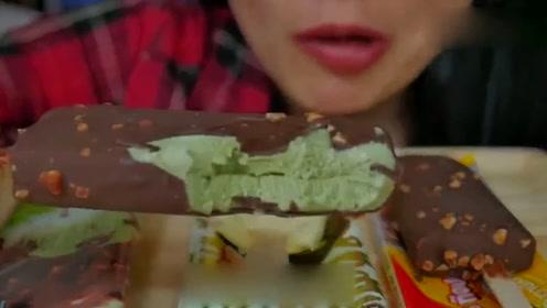 美食吃播声控吃播泰国SAS微笑姐姐吃雪糕,咀嚼音