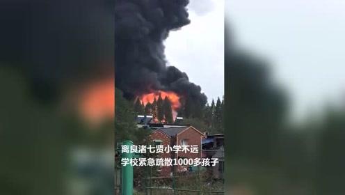 杭州余杭良渚一厂房起火浓烟滚滚 附近小学紧急疏散1000多孩子