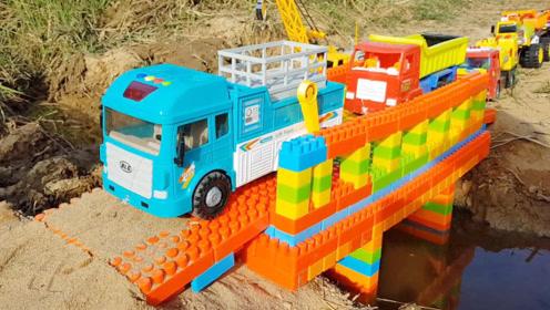 工程车玩具翻斗车双层巴士车,儿童乐高积木玩具桥