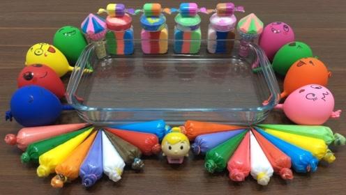 你见过用彩泥制作生日蛋糕吗?裱花袋配合恶作剧气球,diy史莱姆