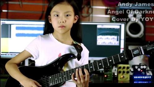 9岁天才吉他少女速弹电吉他,一出手就知道是王者,手速没谁了!