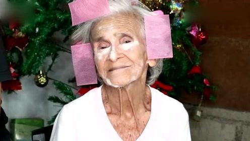 87岁老奶奶化妆全过程,化完妆简直太美了