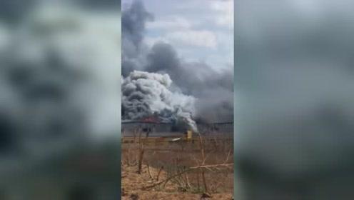 山东鲁花集团油厂着火 现场浓烟滚滚火势凶猛
