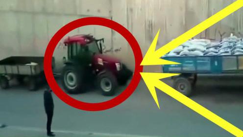 路见不平一声吼!老司机一脚油门,拖拉机成功脱险!