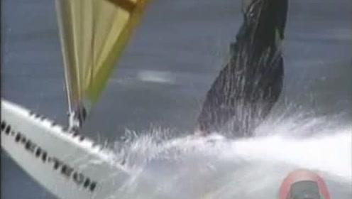 在水上仅靠风力就达到这个速度,非常的刺激