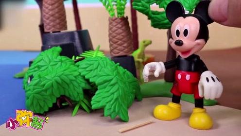 米奇独自划船到岛上冒险看风景 到了岛上认识了新朋友 玩具故事