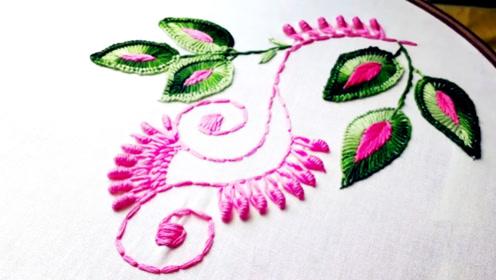 手工刺绣:豆针绣针法制作可爱的绣花图案