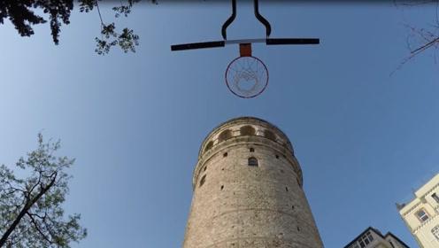在500年历史的城堡玩篮球?老外趣味挑战。网友:胆子真大