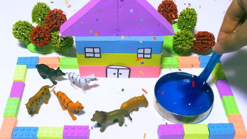 创意手工diy,教你用彩色太空沙做个精致的花园城堡!