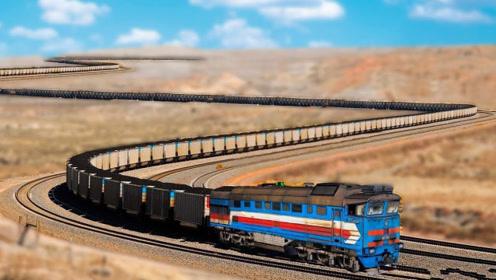 世界上最长的火车,需要8个车头才能拉动,一眼都望不到头