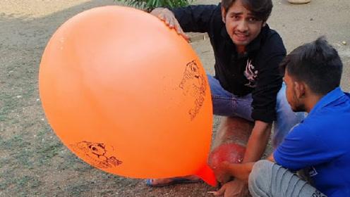 往气球里填充氢气它会飞吗?老外亲自实验,镜头拍了全过程