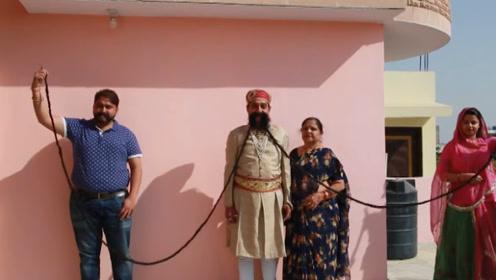 印度男子49年不刮胡子,吉尼斯纪录保持者,每天定期给胡子保养