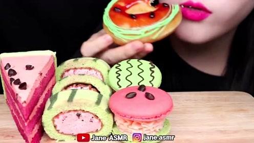 揪住夏天的尾巴:超级可爱的西瓜戚风蛋糕,瑞士卷,甜甜圈