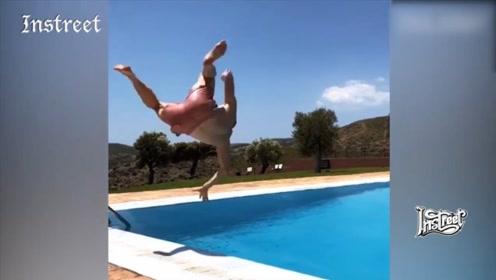 哈哈,跳水时的疑惑行为?怎么突然这样了?