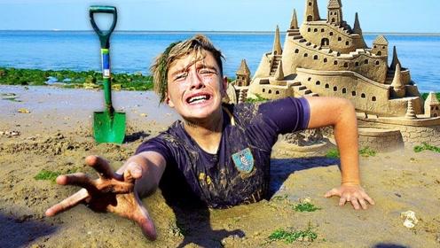 熊孩子挑战沙中待24小时,获胜得两万美金!网友:自己埋自己?