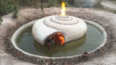 农村小伙隐居山林,徒手打造蜗牛房泳池,这设计比建筑师还牛!