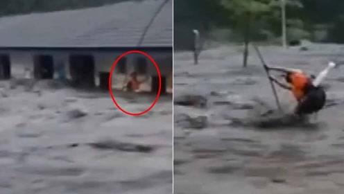 惊险!四川卧龙一污水厂被山洪围困 1人不幸被冲走