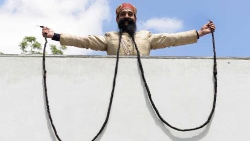 """世界""""胡子""""最长男人,46年不剃长4.3米,网友:可以跳绳了"""