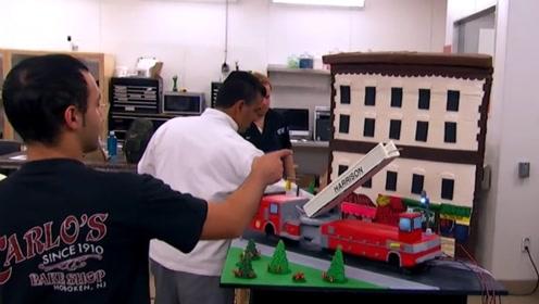 大佬出手就是不凡,为纪念消防员,将蛋糕做成消防车100%还原