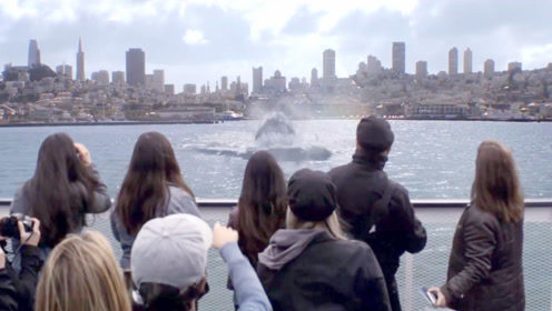 海面涌现大水花,众人本以为是鲸鱼,结果浮出水面一个巨人