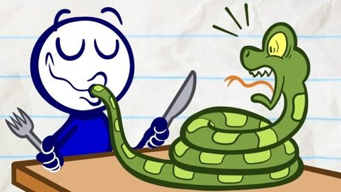 苍蝇不小心飞入嘴里,铅笔人吞下毒蛇来驱虫,却被调皮画家捉弄!
