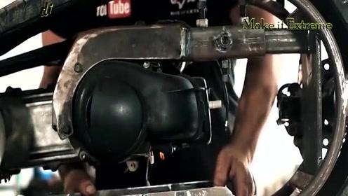 手工达人用汽车轮胎和踏板车发动机组装成的独轮大玩具
