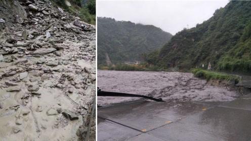四川绵阳:暴雨引发洪灾、泥石流 九环线多处中断 河水猛涨